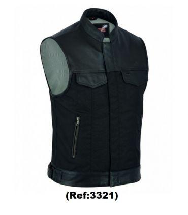 Gilet Biker cuir/coton