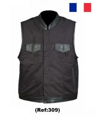 Gilet Biker cuir - coton