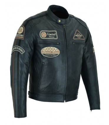 Veste cuir moto Vintage avec protections